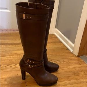 Cole Haag Brown Heeled Boots, 8.5